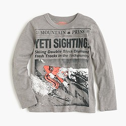 Boys' long-sleeve skiing yeti T-shirt