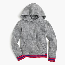 Boys' marled hoodie with striped trim
