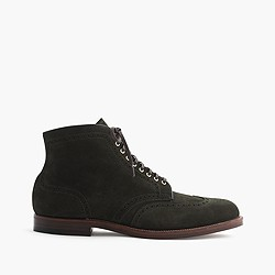Alden® for J.Crew wing tip boots in green suede