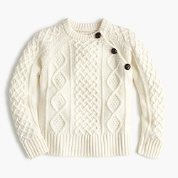 Girls' three-button cable sweater in wool