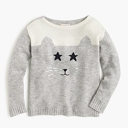 Girls' embellished cat sweater