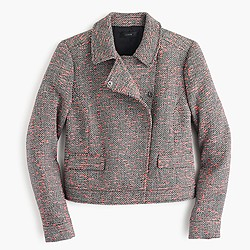 Cropped neon tweed jacket