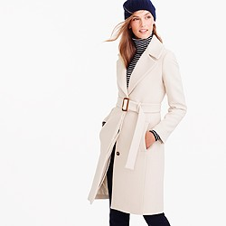 Petite double-cloth belted trench coat