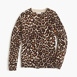 Girls' merino wool cardigan in sand leopard