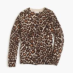 Girls' merino wool cardigan in sand leopard