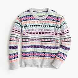 Girls' neon Fair Isle wool-blend popover sweater