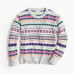 Girls' neon Fair Isle wool-blend popover sweater