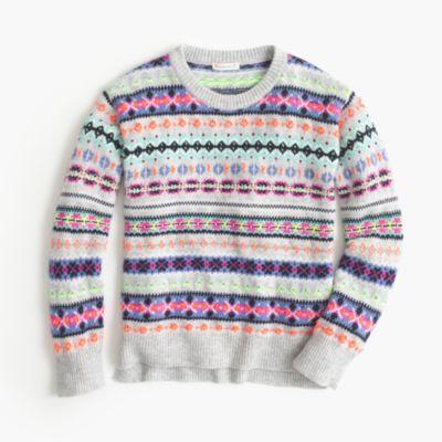 Girls' neon Fair Isle wool-blend popover sweater :