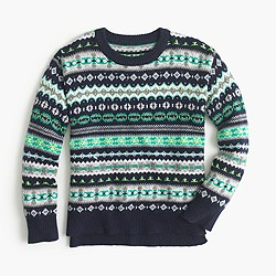 Girls' wool Fair Isle popover sweater