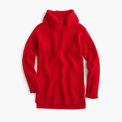 Girls' solid ribbed wool turtleneck sweater