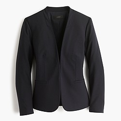 Petite collarless blazer in Italian stretch wool