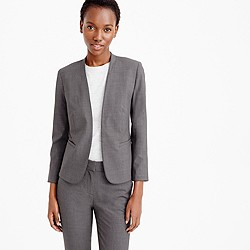 Collarless blazer in Italian stretch wool