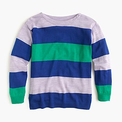 Girls' multistripe merino wool popover sweater