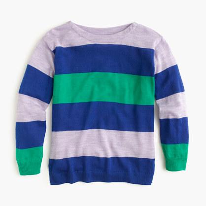 Girls' multistripe merino wool popover sweater