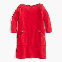 Girls' three-quarter sleeve dress with zip pockets
