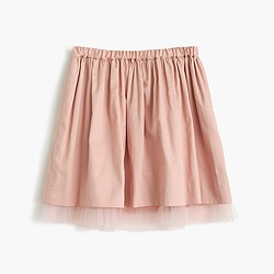 Girls' pull-on skirt with tulle hem