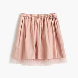 Girls' pull-on skirt with tulle hem
