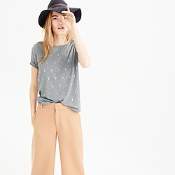 Heathered embellished dot T-shirt