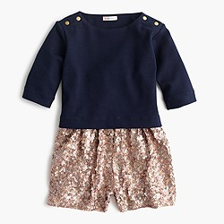 Girls' sequin sweater romper
