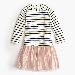 Girls' tulle dress in stripe