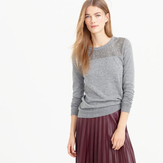 Embellished Tippi sweater in glen plaid