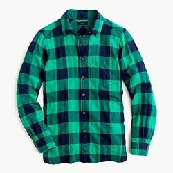 Shrunken boy shirt in emerald buffalo check