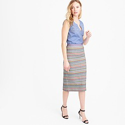Collection neon and metallic tweed pencil skirt