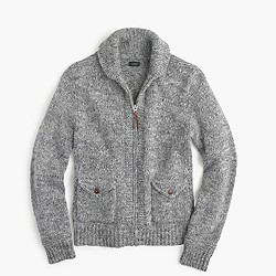 Wool-alpaca shawl-collar zip-up cardigan sweater