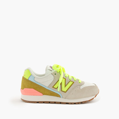 Kids' New Balance® for crewcuts 996 sneakers in champagne-lime