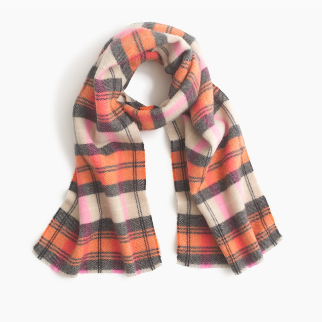Italian wool-blend scarf in classic plaid