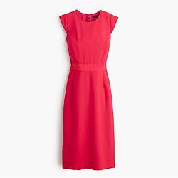 Cap-sleeve dress in Italian wool crepe