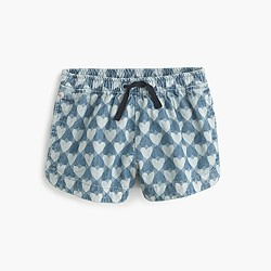 Girls' pull-on short in chambray hearts