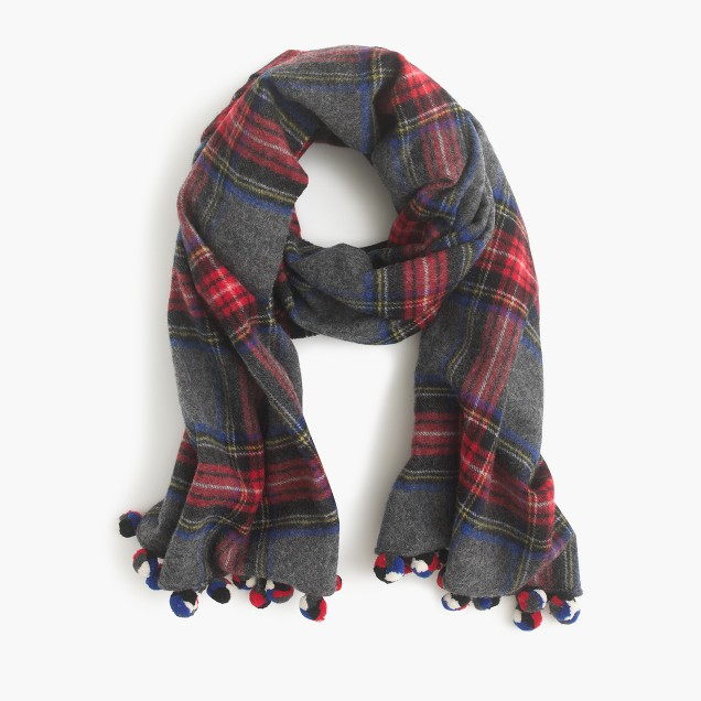 plaid pom pom scarf j crew. Black Bedroom Furniture Sets. Home Design Ideas