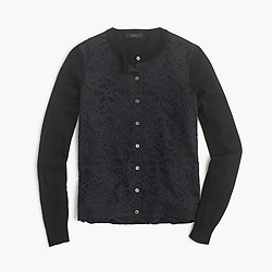 Lace panel cardigan sweater