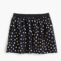 Girls' pull-on skirt in metallic splatter print