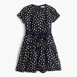 Girls' gold print dress with ribbon
