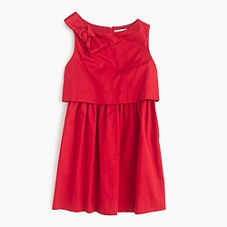 Girls' tiered cotton dress with bow