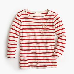 Girls' les etoiles studded striped T-shirt