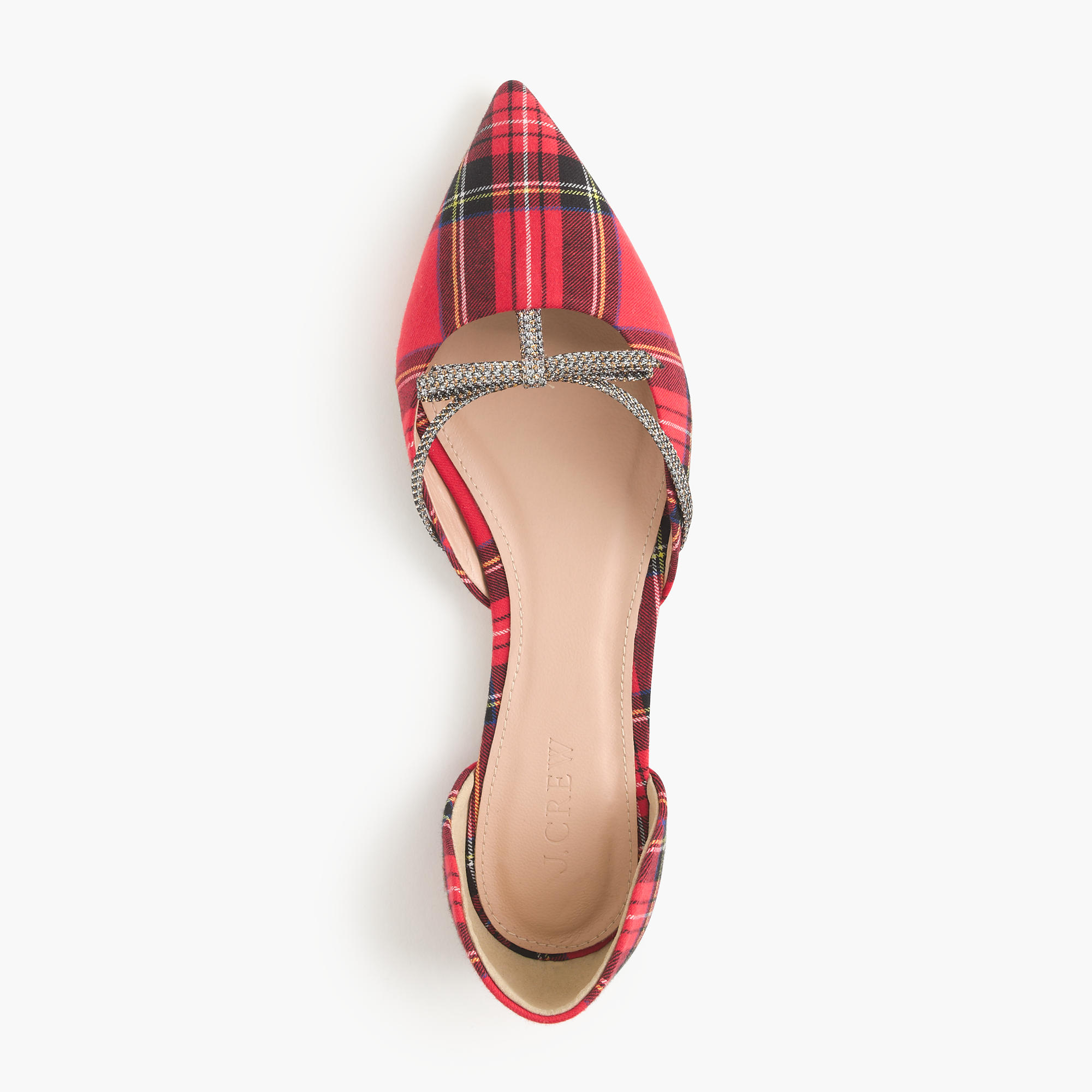 J Crew Sloan Plaid D'orsay Flats with Mini Bow