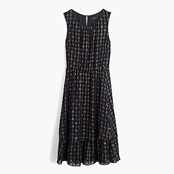 Petite metallic textured-dot dress