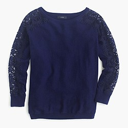 Petite crewneck sweater with edged lace