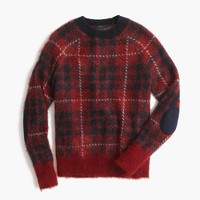 Brushed wool-blend crewneck sweater in plaid