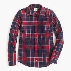 Collection Thomas Mason® flannel shirt in crimson-navy plaid
