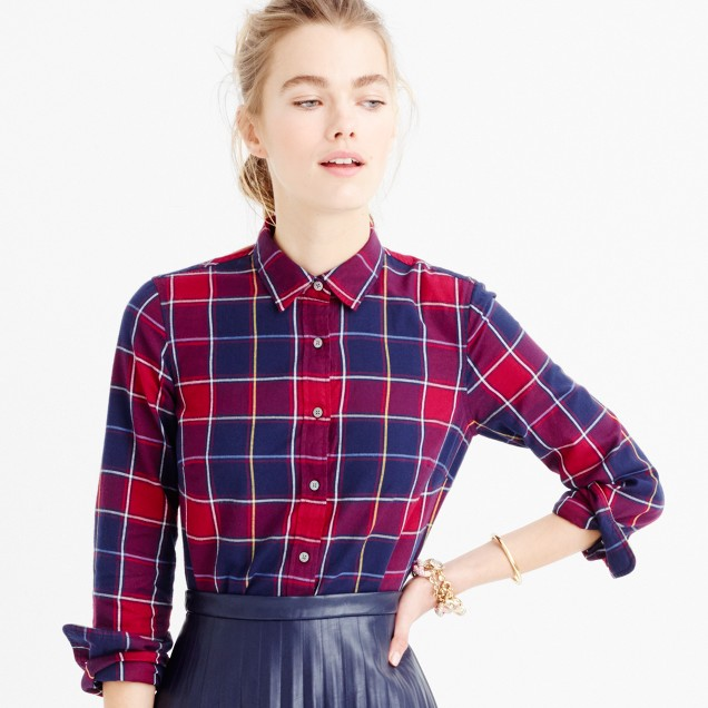 Collection Thomas Mason® flannel shirt in crimson-navy plaid