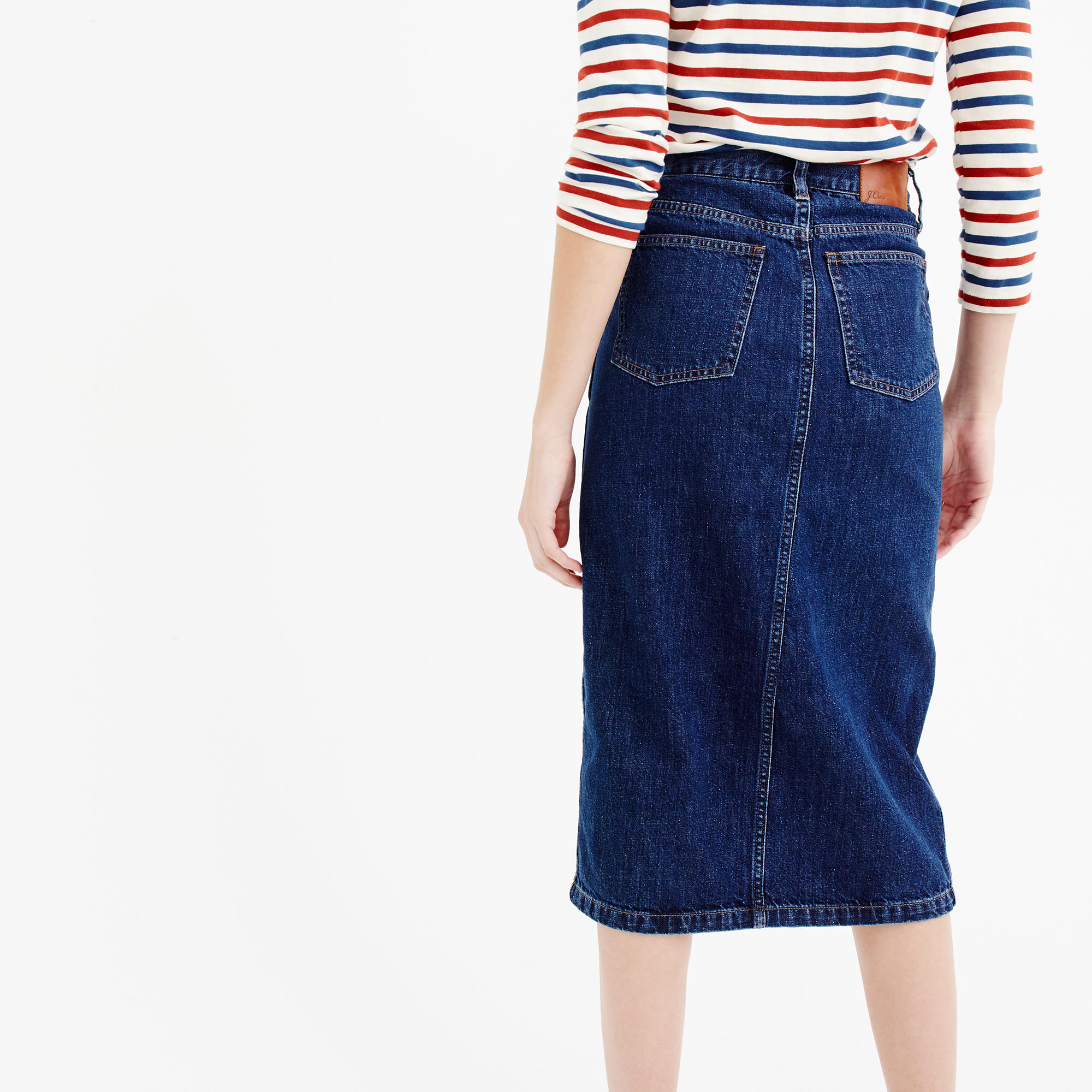 Denim front-slit skirt : Women denim | J.Crew