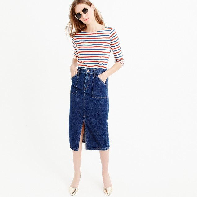 Denim front-slit skirt : Women denim | J.Crew