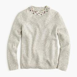 Petite embellished mockneck sweater