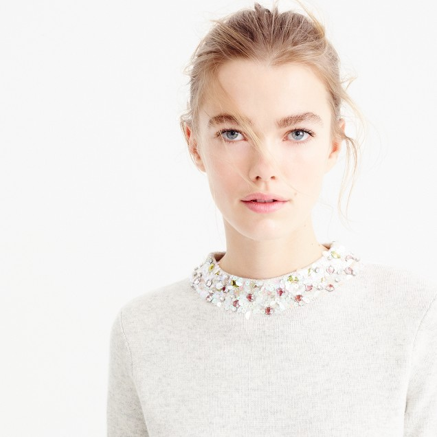 Embellished mockneck sweater