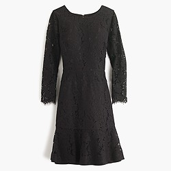 Petite long-sleeve dress in floral lace