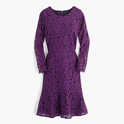 Long-sleeve dress in floral lace